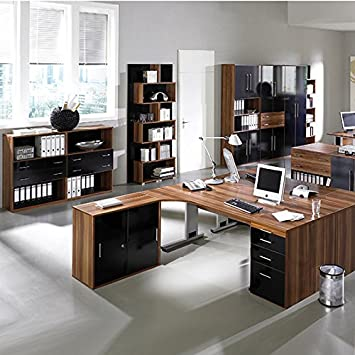 complete office furniture walnut high gloss black office filing rh amazon co uk complete office furniture uk complete office furniture packages
