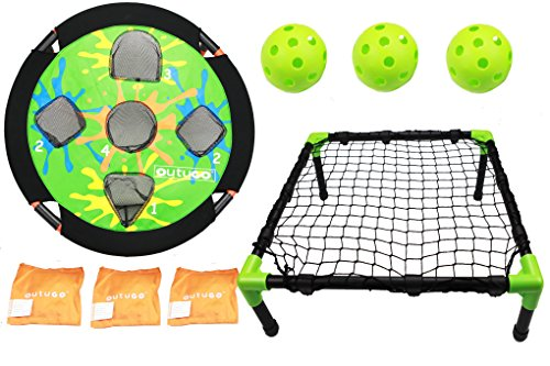 2 Inch Bean Bags - Outugo Bean Bag Toss and Spike Bounce Game 2-in-1 Combo,3 Bean Bags and 3 Wiffle Balls ,Outdoor Easy Assemble