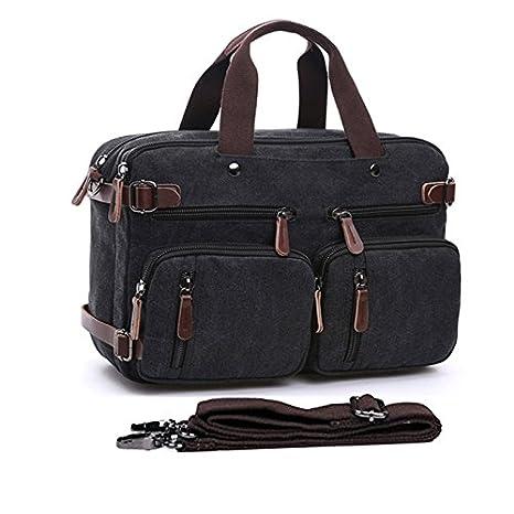 e04f4fc1369 15.6-17.3 quot  Men s Messenger Bag Canvas Laptop Bag, Gudui Hybrid  Multifunction Briefcase Handbag