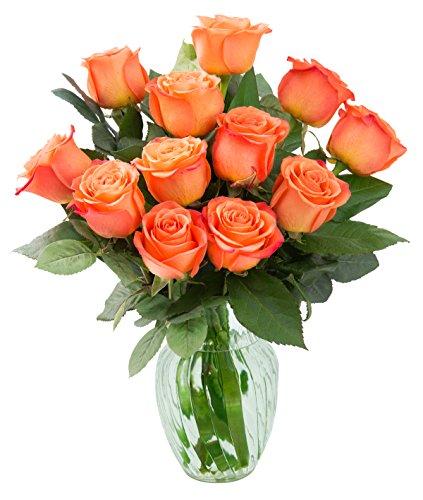 KaBloom Bouquet of 12 Fresh Cut Orange Roses (Farm-Fresh, Long-Stem) with Vase