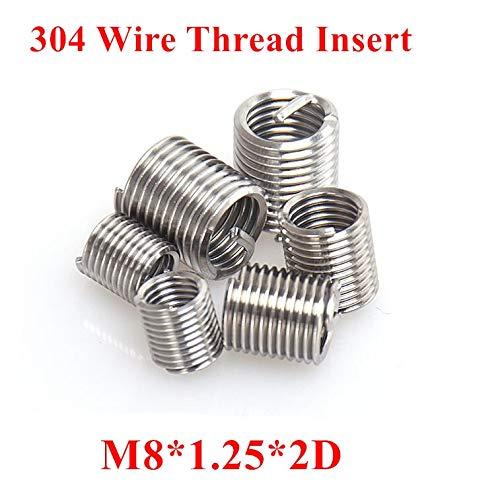 m82D Wire Screw Sleeve Thread Repair Insert Ochoos 50pcs M81.252D M8 Wire Thread Insert 304 Stainless Steel m8 Screw Bushing