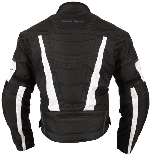 Milano Sport Gamma Motorcycle Jacket with White Accent (Black, Small) by Milano Sport (Image #3)