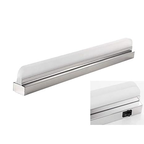 TopDeng Baño Apliques Impermeable Simple LED Lámpara de espejo, Acero inoxidable Apliques de pared Con Interruptor Maquillaje Luz de espejo-Luz blanca ...