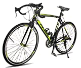 Merax Finiss Aluminum 21 Speed 700C Road Bike Racing Bicycle (Black, 58 cm)