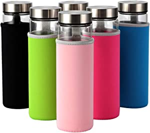 Glass Water Bottles 6 Pack with Neoprene Sleeve 18 oz for Juicing and Beverage Storage, Wide Mouth