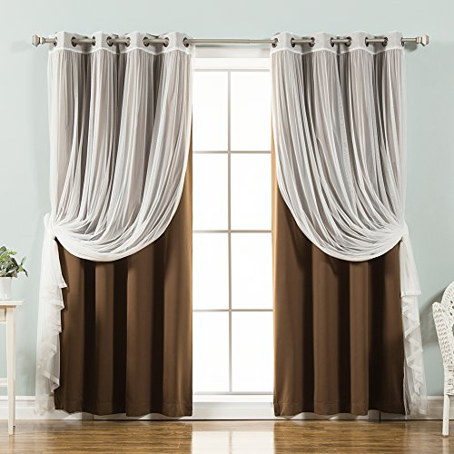 Best Home Fashion Mix & Match Tulle Sheer Lace & Blackout Curtain Set - Antique Bronze Grommet Top - Chocolate - 52