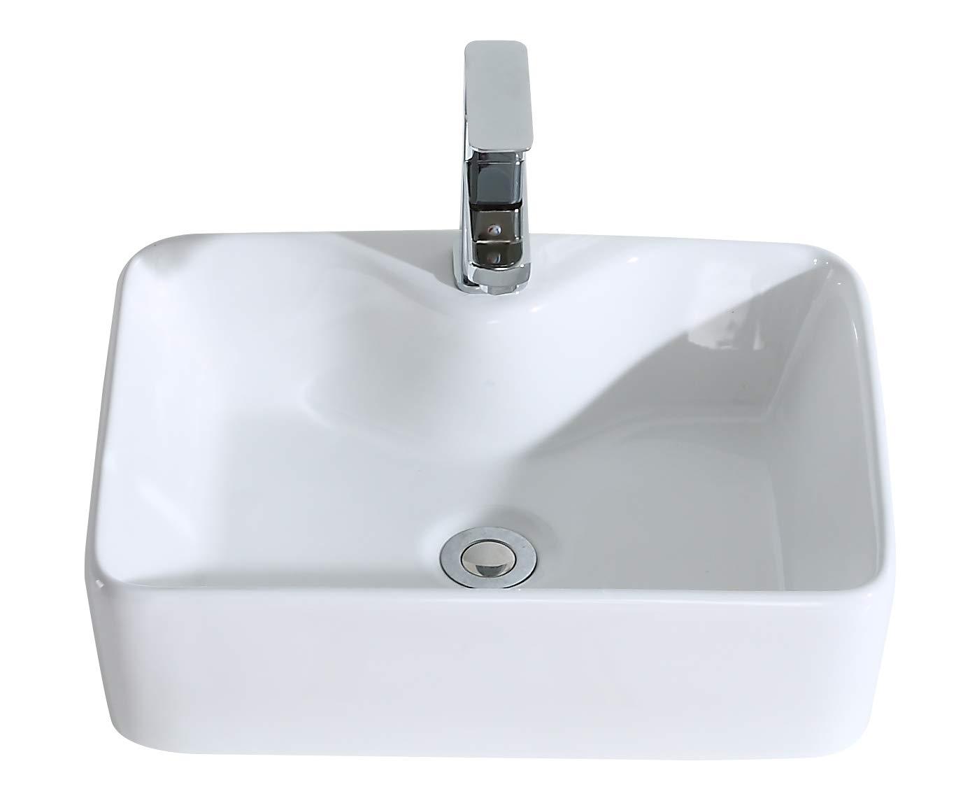 ERIDANUS Wash Basin Sink, Series Rufus-01, Countertop Mounted Wash Basin Sink for Cloakroom Bathroom, 49 X 37 X 14CM