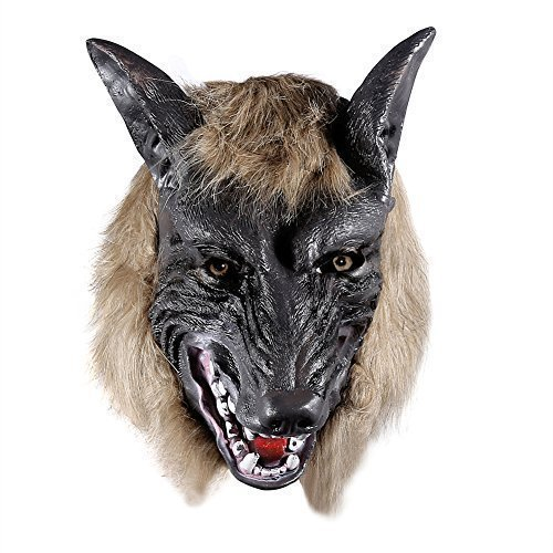 ONEDONE Wolf Head Mask for Halloween and Cosplay Costume (Latex Wolf Mask)