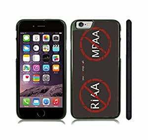 "iStar Cases? iPhone 6 Plus Case with ""You can't stop us all"" Anti RIAA and MPAA Design, Red and White Font on Grey , Snap-on Cover, Hard Carrying Case (Black)"