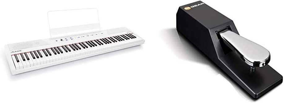 Digital Piano Bundle - Electric Keyboard with 88 Semi Weighted Keys, Built-In Speakers and Sustain Pedal – Alesis Recital (White) and M-Audio SP-2