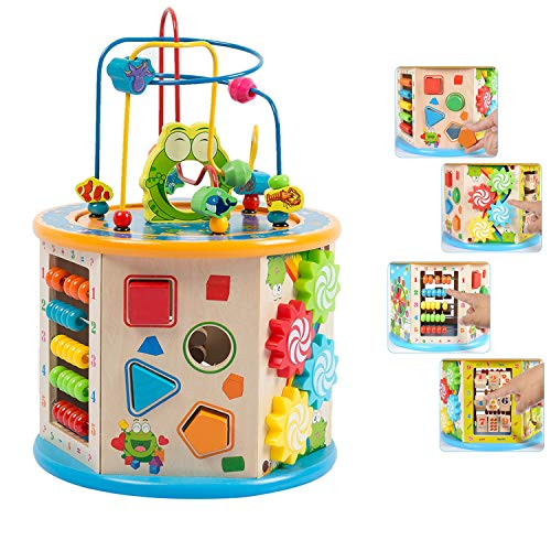 - Jamohom Kids Activity Cube Wooden Bead Maze Shape Sorter Multi-Function 8 in 1 Educational Toys for Toddlers Gift(Small Size
