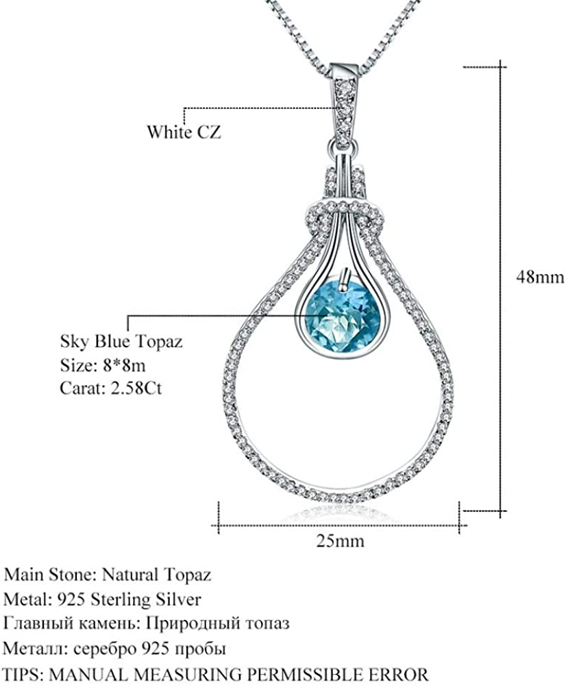 DHJAXL necklace2.58Ct Natural Sky Blue Topaz Gemstone Solitaire Pendant Necklace Solid 925 Sterling Silver Fine Jewelry for Women