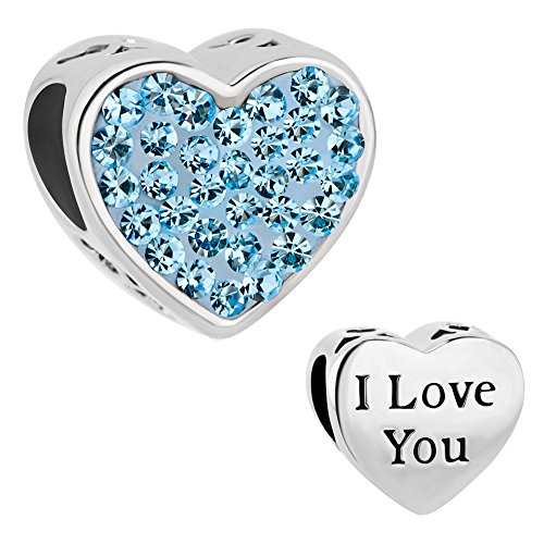 CharmSStory Mom Mother Charm Heart I Love You Simulated Birthstone Synthetic Crystal Beads For Bracelets (LOVE ()