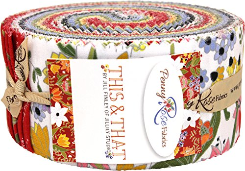 Rose Garden Fabric - Jill Finley This & That Rolie Polie 40 2.5-inch Strips Jelly Roll Penny Rose Fabrics