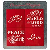 steel refridgerator magnets - Joy Love Festive Red 3 x 3 Hardboard Christmas Refridgerator Magnets Set of 4