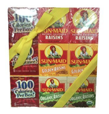 Sun Maid Raisins Variety Set - 3 PACKS of 6 Boxes - California original raisins, Golden raisins, Organic raisins - 18 total 1.33oz boxes