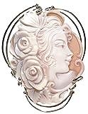 Brooch Pendant Summer Dream, Sterling Silver, Natural Sardonyx Shell, Original Cameo,Italian