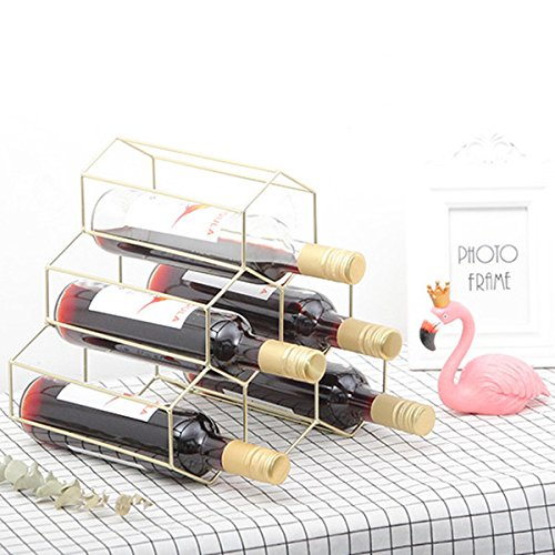 SODIAL Creative Geometric Wine Rack Metal Simple Household Grape Wine Rack Restaurant Living Room Bar Wine Cabinet Wine Display