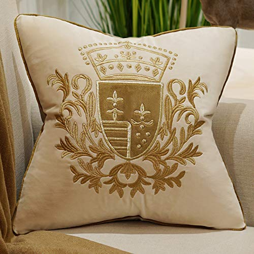 Avigers 20 x 20 Inch Embroidery Velvet Cushion Cover Shield Luxury European Pillow Cases Pillowcase Home Decorative for Sofa Chair Bedroom Throw Pillow, Beige