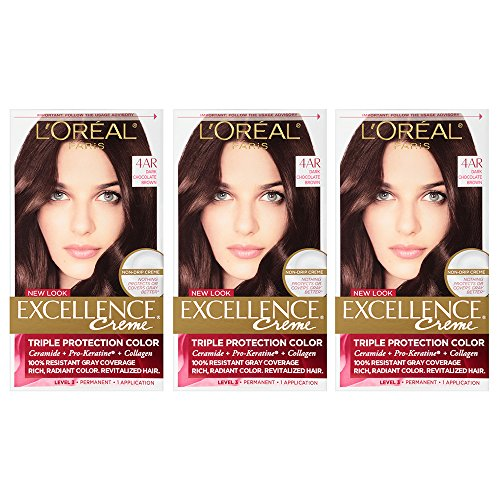 (L'Oreal Paris Excellence Creme, 4AR Dark Chocolate Brown (Packaging May)