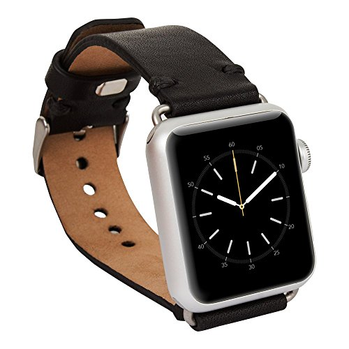 Apple Watch Band, Benito Top-grain Leather Band Strap with Stainless Metal Clasp for Apple Watch All Models 42mm, Handmade (Black - 42mm)