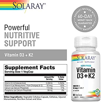 Solaray® Vitamin D3 + K2 | D & K Vitamins for Calcium Absorption and Support for Healthy Cardiovascular System & Arteries | Non-GMO & Soy-Free | 60 Ct | 2 pk