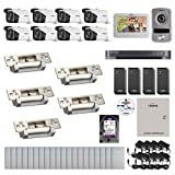 Visionis And Vezco FPC-6965 Professional Integration Security 8 Bullet Cameras DVR With 2TB HD Included, 4 Door Access Control 10,000 User Electric Strike Exit Button And IP Video Intercom Kit