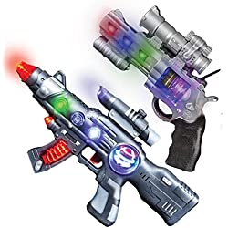 "LED Light Up Toy Gun Set by Art Creativity - Super Ray Gun Blasters with Colorful Flashing LEDs & Sound - Cool Play Toys for Boys and Girls - Includes 12.5"" Assault Rifle, 9"" Hand Pistol and Batteries"