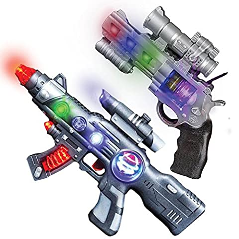 LED Light Up Toy Gun Set by Art Creativity - Super Ray Gun Blasters with Colorful Flashing LEDs & Sound - Cool Play Toys for Boys and Girls - Includes 12.5