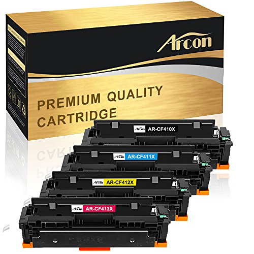 Arcon 4 Packs Compatible for HP 410X 410A Toner Cartridge HP Color Laserjet Pro MFP M477fdw M452dn M477fnw M477fdn M477 M452dw M452nw M452 M377dw CF410X CF410A CF411X CF412X CF413X Printer Toner Ink -