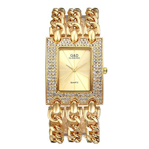 (Women Luxury Iced Out Bling Watch Square Gold Tone Rhinestones Bezel Crystal Bracelet Bangle Cuff Casual Fashion Dress Wrist Watch)