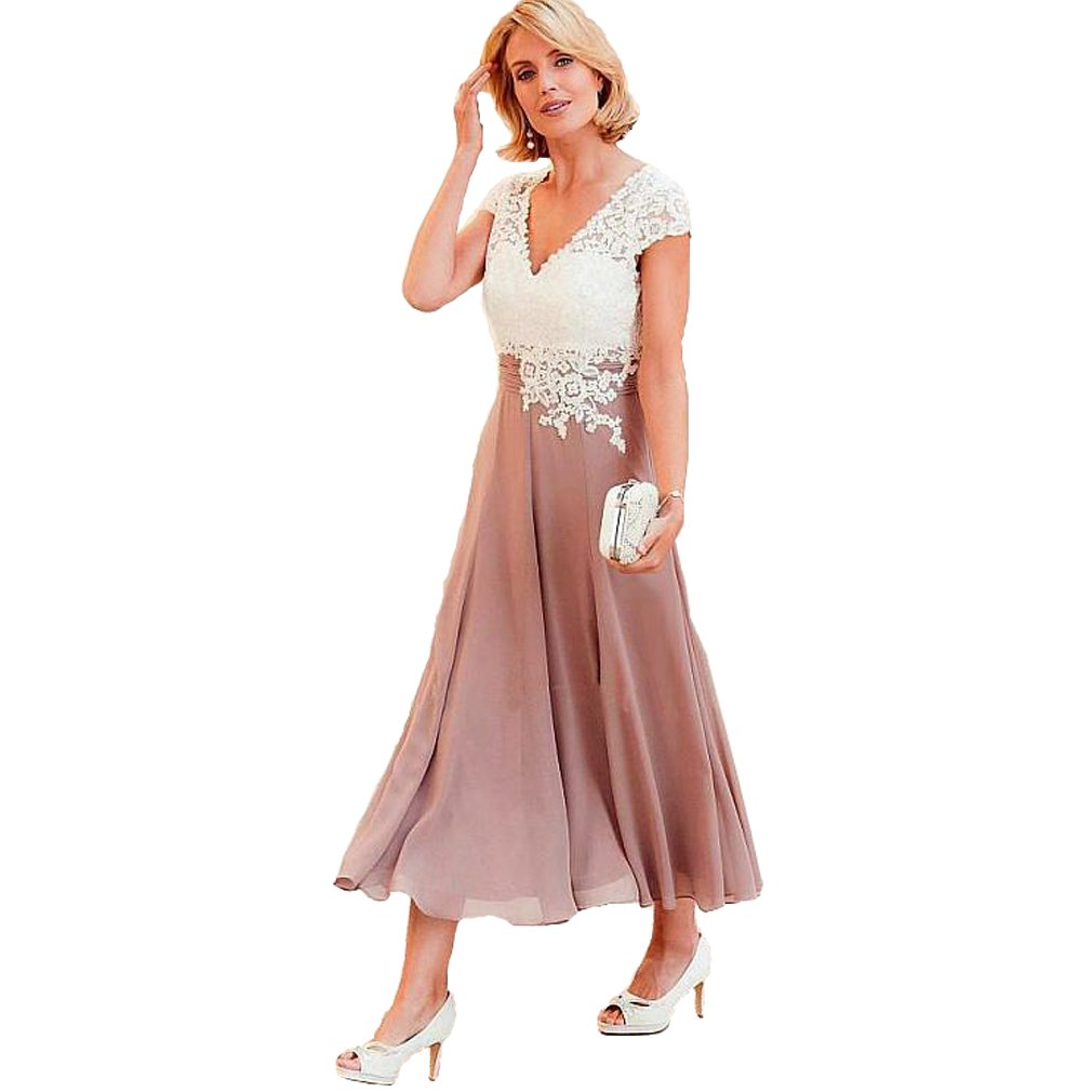 Fashionbride Women's V-Neck Short Sleeve Evening Gowns Mother of The Bride Dresses Tea Length ED41 Dusty Pink-US22W by Fashionbride (Image #1)