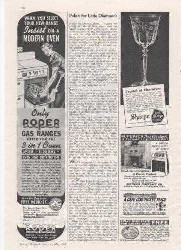 (Roper Gas Ranges 3 in 1 Oven Rock Sharpe Crystal 1938 Home Vintage Antique Advertisement)