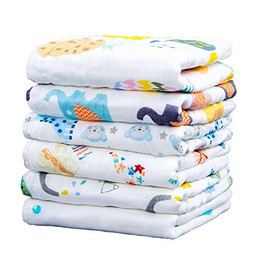 NTBAY 6 Layers of Baby Washcloths Natural Muslin Cotton with Cartoon Printed Design, Newborn Baby Face Towel Perfect Gifts Set of 6, Extra Soft, Breathable, 10x10 - Newborn Cloth Burp Toddler