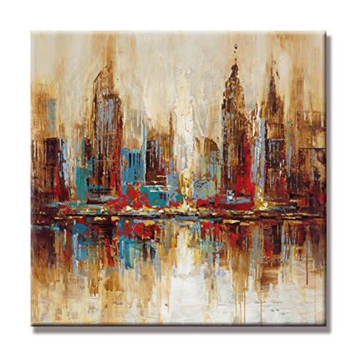 UAC WALL ARTS- 100% Hand Painted Cityscape Extra Large Colorful City Modern Gallery Wrapped Abstract Landscape Oil Paintings on Canvas Wall Art for Living Room Bedroom Home Decorations Ready to Hang (Cityscape Painting)