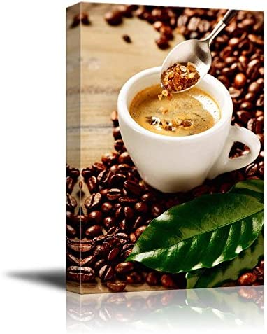 Cup of Espresso Coffee and Coffee Beans and Brown Sugar Wall Decor