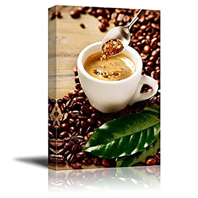 Canvas Prints Wall Art - Cup of Espresso Coffee and Coffee Beans and Brown Sugar | Modern Wall Decor/Home Art Stretched Gallery Canvas Wraps Giclee Print & Ready to Hang - 16