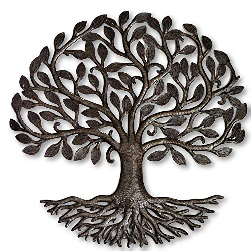 "Metal Tree of Life Roots, Large Tree, Rustic Farmhouse Decor, Nature Inspired, Handmade in Haiti 23"" X 23"" Fair Trade Federation Certified"