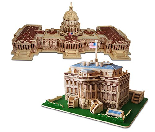 Puzzled The White House and US Capitol Wooden 3D Puzzle Construction Kit