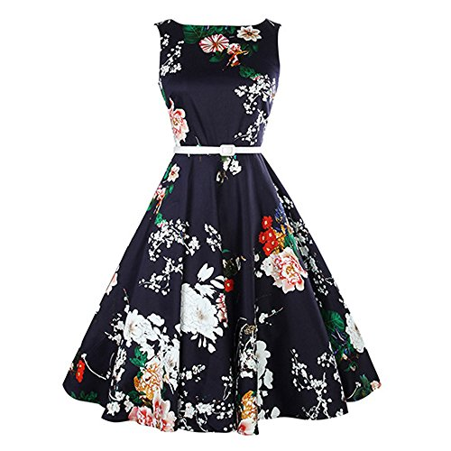 ses Clearance Lady Vintage Print Bodycon Sleeveless Evening Party Swing Dress Belt (S, Navy) ()