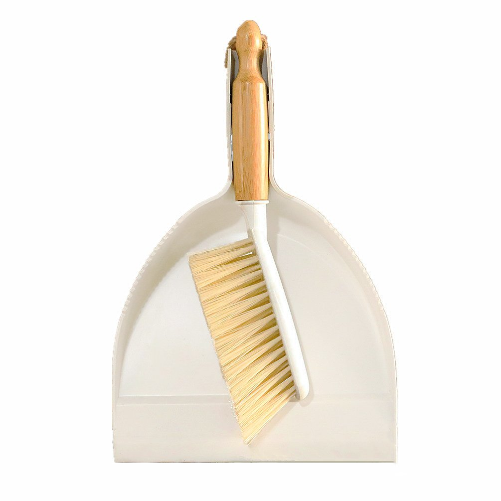 Huibot Hand Broom and Dustpan Set Natural Bamboo Handle with Rubber Edge, White