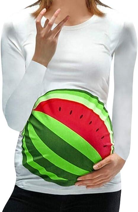 Mitlfuny Ropa premamá Camisetas Mujer Lactancia de Maternidad Manga Larga Camisa Sandia Estampado Blusa Verano Otoño Madre Mujeres Algodón Enfermeria Embarazadas Embarazo Tops Pijama: Amazon.es: Ropa y accesorios