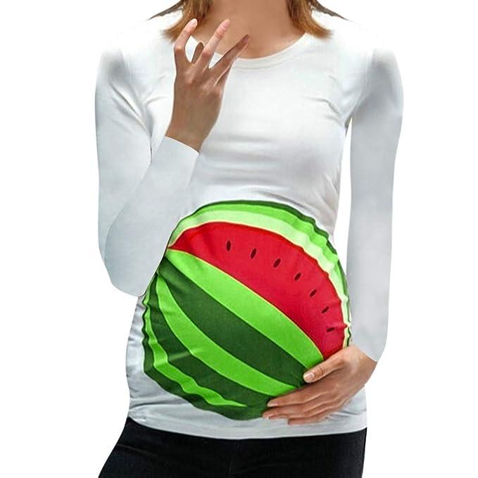 Mitlfuny Ropa premamá Camisetas Mujer Lactancia de Maternidad Manga Larga Camisa Sandia Estampado Blusa Verano Otoño Madre Mujeres Algodón Enfermeria ...