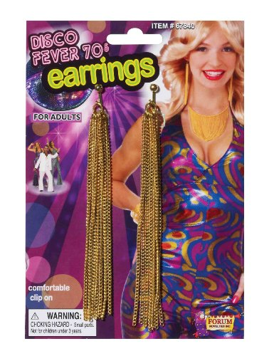 Adults Womens 70s Disco Fever Gold Chain Disco Earrings Costume Accessory - Gold 70s Dress