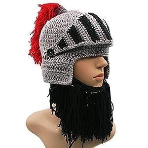 eaf44253 GIANCOMICS Red Tassel Roman Cosplay Knight Helmet Visor Beanie Knit ...