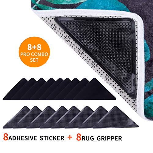 Rug Grippers Anti Curling Non Slip - Adhesive Rug Pad Rug Gripper Tape for Hardwood Floors, Carpets Double Sided Non Skid Area Rugs for Tile, Rug Anchors Sticky Holders Pad Anti Slip Tape 16pcs Black Anchor Double Sided Tape