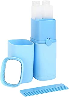 Gracorgzjs économiseur d'espace extérieur 5pcs Portable Gargle Tasse Shampooing Sub-Bottle Peigne Miroir de Maquillage Trousse de Toilette de Voyage kit