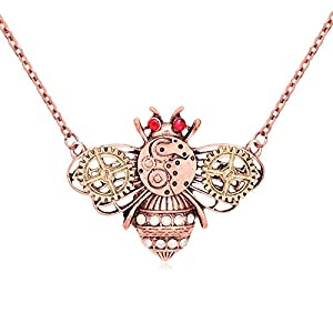TUSHUO Steampunk Fashion Personality Necklace Punk Butterfly Owl Honeybee Heart Long Chain Necklace