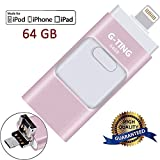 USB Flash Drives for iPhone 64GB Pen-Drive Memory Storage, G-TING Jump Drive Lightning Memory Stick External Storage, Memory Expansion for Apple IOS Android Computers (Pink)
