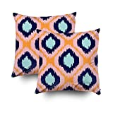 GROOTEY Decorative Cotton Square Set of 2 Pillow Case Covers Zippered Closing Home Sofa Decor Size 16X16Inch Costom Pillowcse Throw Cover Cushion,Ikat geometric pattern Orange blue